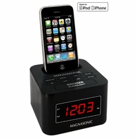Magnasonic MiC1000K Digital FM Alarm Clock Radio Speaker Dock for iPod/iPhone with Dual Alarm & Auto Time Sync<!--MIC1000K-->
