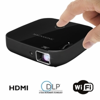 "Magnasonic Wi-Fi Mini Video Projector, HDMI, Wireless for Android Devices, DLP, 100 Lumens, 80"" display for Movies, Presentations, Gaming, Smartphones, Tablets, Laptops (PP72)<!--PP72-->"