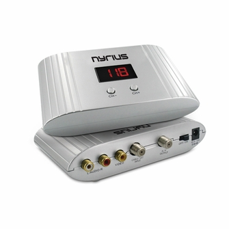 Nyrius NRFM100 Universal Channel RF Signal Modulator Audio/Video Converter with UHF/CATV Mode for satellite/cable TV set-top-box, DVD, surveillance camera<!--NRFM100-->