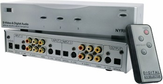 Nyrius SW200 S-Video Composite & Digital Optical Toslink 3 Input Audio Video Selector Switch with Remote<!--SW200-->