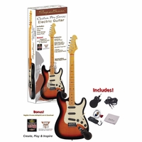 Spectrum AIL 94FM ST Style Electric Guitar Pack with Mini Amplifier, Strap, Strings, Instrument Cable, Guitar Picks, Cleaning Cloth, Jam Tracks and Instructional Video Download (Maple Flame)<!--AIL94FM-->
