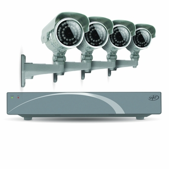 SVAT 8CH Smart Security DVR with 4 Super Resolution Outdoor 100ft Night Vision Security Cameras with IR Cut Filter 500 GB HDD iPhone, Android, Blackberry, iPad, PC & Mac compatible - 11030<!--11030-->