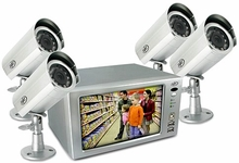 "SVAT CLEARVU1 Ultra Compact Web Ready DVR Security System - Digital Video Recorder with Built-in 7"" LCD and 4 Hi-Res Indoor/Outdoor Night Vision Surveillance Cameras"