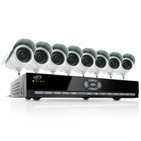 SVAT CV301-8CH-008 Web Ready 8 Channel H.264 500GB HDD DVR Security System with 8 Indoor/Outdoor Hi-Res Night Vision CCD Surveillance Cameras and Smart Phone Access<!--CV301-8CH-008-->