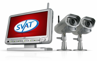 "SVAT GX301-011 Digital Wireless DVR Security System with 7"" LCD Monitor, SD Card Recording and 2 Long Range Night Vision Surveillance Cameras<!--GX301-011-->"