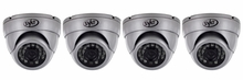 Ultra High Resolution Indoor/Outdoor Dome Security Cameras with 65ft Night Vision & 600 TVL (4 Pack)-11060