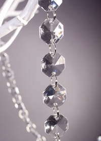 30 Foot Long Faceted Clear Octagon Acrylic Bead Strands