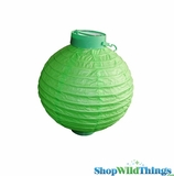 "8"" Paper Lantern with LED Light, Apple Green"
