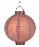 "8"" Paper Lantern with LED Light, Brown"