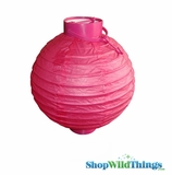 "8"" Paper Lantern with LED Light, Fuschia Pink"