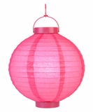 "8"" Paper Lantern with LED Light, Fuchsia Pink"