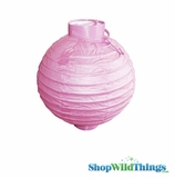 "8"" Paper Lantern with LED Light, Light Pink"