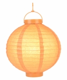 "8"" Paper Lantern with LED Light, Orange"