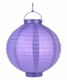 "8"" Paper Lantern with LED Light, Purple"