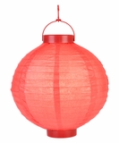 "8"" Paper Lantern with LED Light, Red"