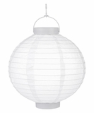 "8"" Paper Lantern with LED Light, White"