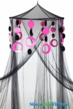 Custom Canopy with Hoops Black & Pink-Choose Canopy Color!