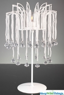 """Adrienne"" Beaded Pearls & White Metal Candle Holder  - 15.5"" Tall"