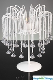 """""""Albey"""" Beaded Pearls & White Metal Candle Holder - 11.5"""" Tall"""