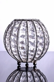 """Amy"" Sphere 7"" Candle Holder Silver with Octagon Crystals"