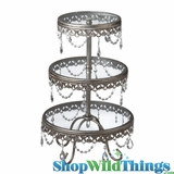 Antique Silver & Crystals Fancy 3 Tier Display Stand