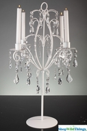 """Aubra"" Pillar Candle Holder - White Iron with Acrylic Crystal Beads - 23.5"" Tall"