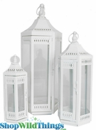 """Avanti"" Ivory Metal Candle Lantern Set of 3: 14"" 19"" 26"""