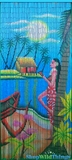 "Bamboo Painted Beaded Curtain ""Dreaming of Aloha"" - 90 Strands"