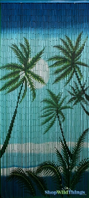 Tropical Palms Painted Bamboo Beaded Curtain