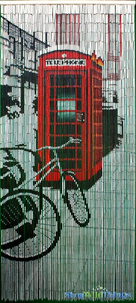 Phone Booth And Bike Scene City Painted Bamboo Beaded