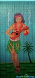 "Bamboo Painted Beaded Curtain ""Ukulele Baby"" - 90 Strands"