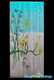 Bamboo Painted Curtain Bird on a Bamboo Tree Scene