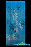 Bamboo Painted Curtain Blue Bamboo Scene