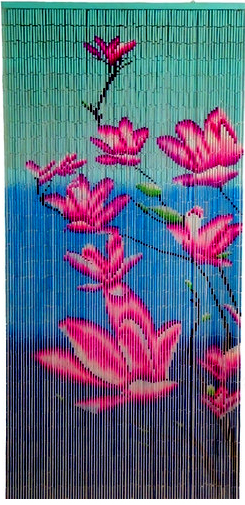 Pink Flowers Beaded Curtain Pink And Blue Painted Bamboo