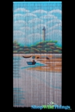 Bamboo Painted Curtain Lighthouse Beach Scene Door Beads