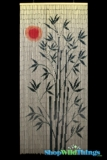 Bamboo Painted Curtain Red Sun Tree Scene