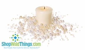 """Beaded Candle Ring 2.5"""" - Set of 2 - Pearls Cream & Ivory"""