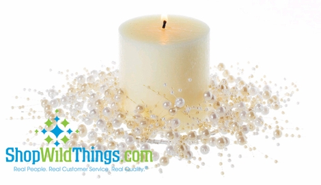 """Beaded Candle Ring 4"""" - Pearls Cream & Ivory"""
