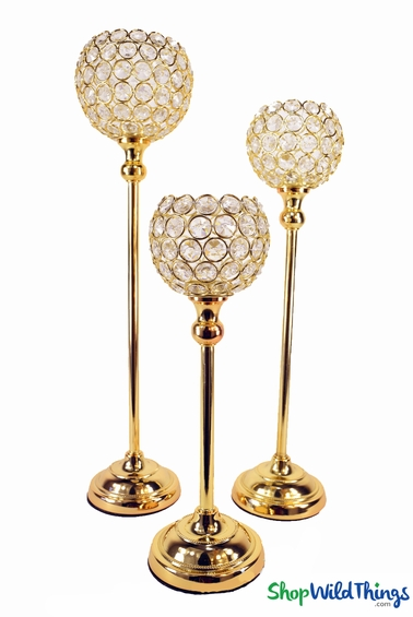 """Beaded Real Crystals Candle Holders - Goblet Set of 3 - """"Prestige"""" - Indian Gold"""