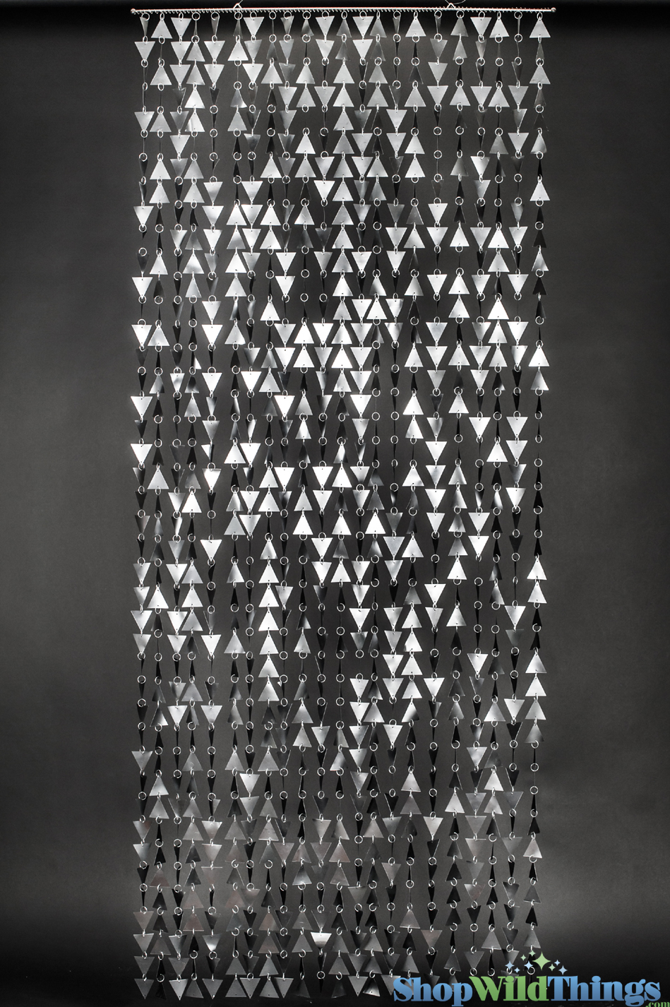 Beaded Curtain Geometric Shapes Large Matte Silver