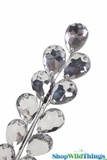 "Floral Spray - Sparkling Metallic Silver Beaded Lilac Leaves - 32"" Tall"