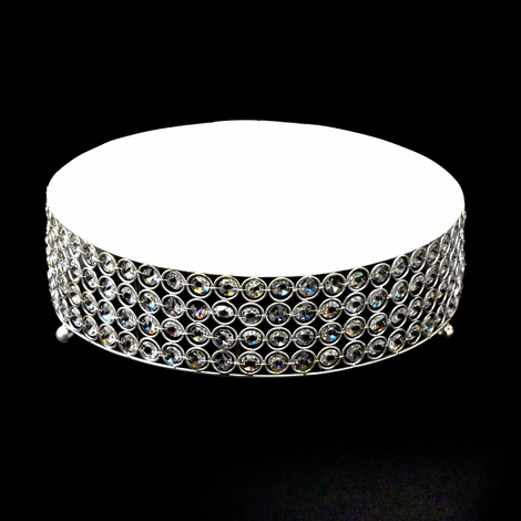 Crystals Round Cake Stand With Beads Silver 14 Inches Round