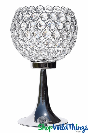 """Beaded Real Crystals Candle Holder - Bowl on Stand - """"Prestige"""" - Silver 13"""""""