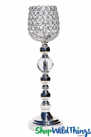 "Beaded Real Crystals Candle Holder - Cup Shape - ""Prestige"" - Silver 19 3/4"""