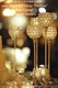 Beaded Real Crystals Candle Holder - Goblet - Set of 3 Gold