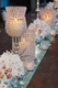 """Beaded Real Crystals Candle Holder - Tulip Shape - """"Prestige"""" - Silver 10.5"""""""