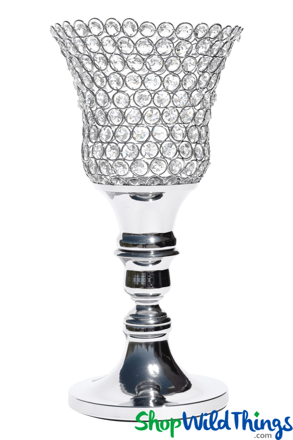 """Beaded Real Crystals Candle Holder - Tulip Shape - """"Prestige"""" - Silver 17 3/4"""""""
