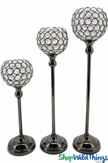 "Beaded Real Crystals Candle Holders - ""Prestige"" Goblet Set of 3 - Metallic Charcoal"