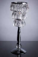 """Bebe"" Silver 13.75"" Tabletop Candle Lamp with Crystals"