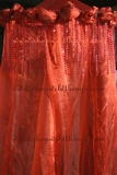 Bed Canopy Red Organza with Diamonds